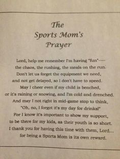 Sports Mom's Prayer