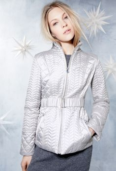 Silver puffy jacket - love the flattering waistband.