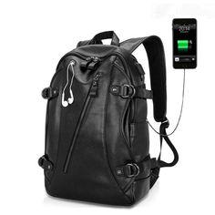 J.M.D Genuine Leather Backpack Rucksack Travel Schoolbag For Headphone Line