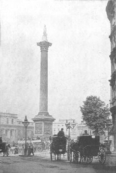 A view of Trafalgar Square taken from Northumberland Avenue outside the Hotel Victoria showing a Hansom Cab and a 'Growler' on the cab Rank in Northumberland Avenue. There is also a Cannon Row Police Constable on the pedestrian refuge bottom left talking to a man wearing a boater, probably 1903/04. Victoria Show, Hotel Victoria, London Pictures, London Photos, Vintage London, Old London, London Attractions, Victorian Life, Trafalgar Square