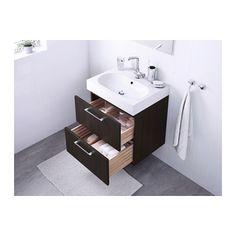 "GODMORGON / BRÅVIKEN Sink cabinet with 2 drawers - black-brown, 23 5/8x19 1/4x26 3/4 "" - IKEA"