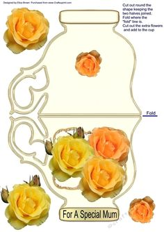 Rosy Lee on Craftsuprint designed by Elizas Emporium - A cream tea cup with roses on the front to decoupage and one small rose on the back. Tag - To a Special Mum - Now available for download!