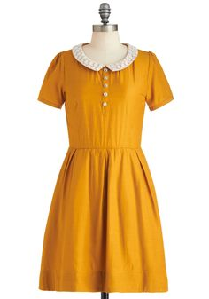Goldenrod to Happiness Dress by Dear Creatures - Yellow, Solid, Buttons, Peter Pan Collar, Casual, Fit & Flare, A-line, Short Sleeves, Fall, Mid-length, Collared, Tan / Cream, Pleats