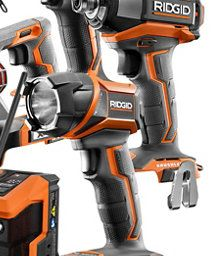 RIDGID 18V Cordless Combo Kit (6-Tool) with (2) 4.0Ah Batteries | The Home Depot Canada Leaf Blower, Home Depot, Nerf, Outdoor Power Equipment, Drill, Canada, Kit, Tools, Stuff To Buy
