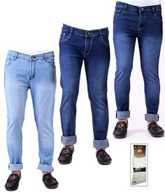Buy Ansh Fashion Wear Men's Jeans Combo Of 3 Denim Jeans With Free 1 Pa