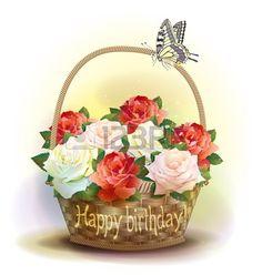 Cesto di vimini con le rose. Scheda di compleanno. photo