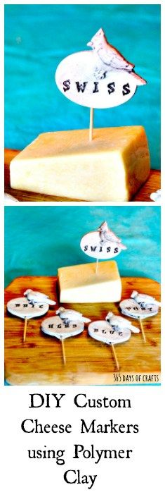 Red bird Cheese Markers - Make your own from polymer clay and stamps - 365 Days of Crafts - easy home entertainment