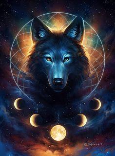 Dream Catcher - Signed Art Print - Fantasy Wolf Moon Dreamcatcher Galaxy Painting - by Jonas Jödicke