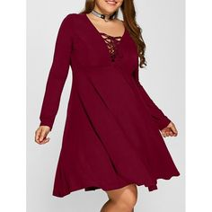 25.48$  Watch here - http://dijbp.justgood.pw/go.php?t=196717006 - Plus Size Lace-Up Empire Waist Dress 25.48$