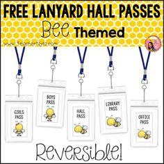 Free Hall Passes for Lanyards - Bee Theme by Nyla's Crafty Teaching Classroom Themes, Classroom Organization, Primary Classroom, School Classroom, Classroom Management, Teacher Blogs, Teacher Hacks, Teacher Stuff, Second Grade