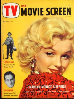 Marilyn Monroe on the cover of TV and Movie Screen magazine, November USA. Cover photo of Marilyn in publicity for Gentlemen Prefer Blondes, Marilyn Monroe Movies, Marilyn Monroe Photos, Eddie Fisher, Movie Magazine, Magazine Art, Gentlemen Prefer Blondes, Jerry Lewis, Diane Lane, Norma Jeane