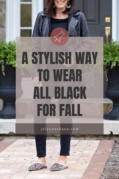 Loving this all black outfit for fall. It's definitely more of an edgy look, but I kept it casual with a t-shirt and snake print mules. Winter Fashion Casual, Fall Winter Outfits, Autumn Winter Fashion, Autumn Fashion, Fashion Blogs, Fashion Ideas, Fashion Inspiration, Black Outfits, All Black Outfit