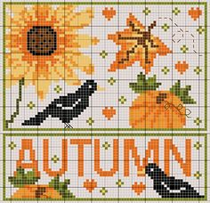 Seasons cross-stitch patterns for all seasons - in English and French!