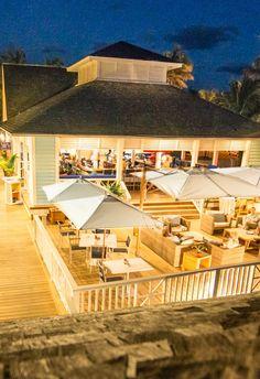 The Boathouse restaurant deck at Valentines Resort, Harbour Island, Bahamas