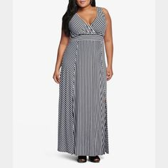 Torrid Stripe Maxi Dress Super soft and sexy Torrid Maxi dress. Really great for summer as its flowy and light weight. Worn a few times but in great shape. torrid Dresses Maxi