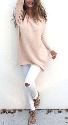 #winter #fashion /  Light Pink Sweater + White Skinny Jeans