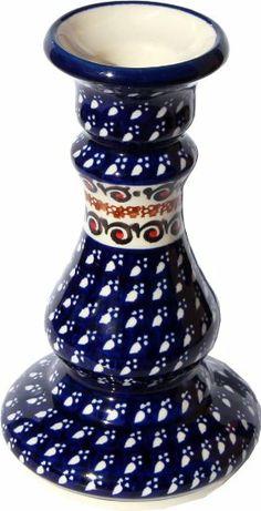 """Amazon.com: Polish Pottery Candlestick Holder From Zaklady Ceramiczne Boleslawiec #861-du79 Unikat, 7"""" High: Home & Kitchen"""
