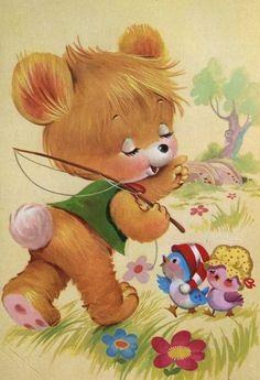 Vintage, kitschy cute bear illustration.