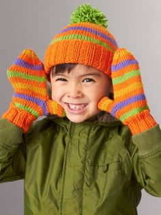 Striped Basic Hat and Mittens 4 Needles | Yarn | Free Knitting Patterns | Crochet Patterns | Yarnspirations