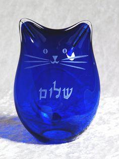Shalom Kitty Handblown Glass Cat via Etsy.