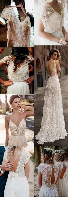 Top 18 Boho Wedding Dresses for 2018 Trends - Brautkleider Boho - Hochzeitskleid Wedding Dresses 2018, Bohemian Wedding Dresses, Boho Dress, Bridal Dresses, Wedding Trends 2018, Dresses Dresses, Bohemian Weddings, Dresses Online, Petite Wedding Dresses