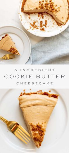 This no bake cookie butter cheesecake is dangerously delicious and packed full of sweet and creamy goodness. It's the easiest way to throw a luscious dessert together in a flash, with just four filling ingredients.