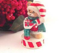 Teddy Bear Figurine VTG Russ Berrie Collectible Porcelain Bisque Christmas Decor