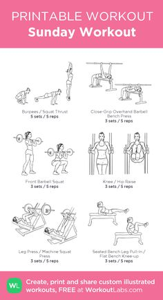 Sunday Workout : my visual workout created at WorkoutLabs.com • Click through to customize and download as a FREE PDF! #customworkout