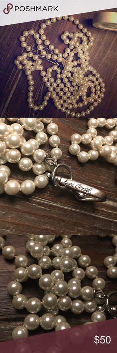 """Henri Bendel faux pearl extra long necklace Appx 40""""+ long excellent condition faux henri bendel pearl necklace in very good condition. Beautiful cream white color and can be draped in so many ways henri bendel Jewelry Necklaces"""