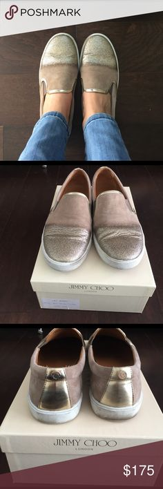 Jimmy Choo slip on sneakers in size 38.5 Jimmy Choo suede slip on sneakers in taupe with glitter toe. Size 38.5. Comes with box and dust bag. Jimmy Choo Shoes Sneakers