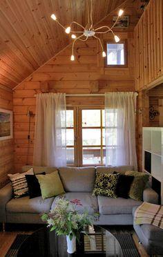 Finnish summer cottage - uudistunut kesämökki Heinolassa Knotty Pine Decor, Storybook Cottage, Rustic Cabins, Lakefront Homes, Panelling, Sheds, Finland, Interior And Exterior, My House