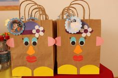 Mrs. Potato favor bags at a Toy Story birthday party! See more party planning ideas at CatchMyParty.com!