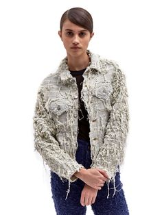 Faustine Steinmetz Womens Handwoven Split Yarn Denim Jacket | LN-CC