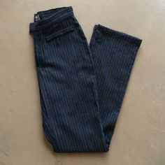 """Versace Couture Jeans/Pants Gorgeous skinny straight leg pinstripe wool """"jeans"""".  Perfect for work as they're as comfy as jeans but look like dress pants!  These are gorgeous and authentic - see the label and hologram.   Waist is 26 and inseam is 30"""".  Slight snag as shown in photo 3 but not noticeable when wearing them. Versace Pants Skinny"""