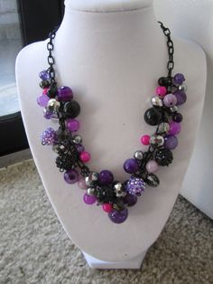 Belle of the Ball Necklace in Fuchsia by Party by Nicole on Etsy