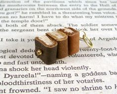 Miniature Book Necklace Stack of Three Mini Books by JanDaJewelry