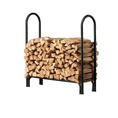 This is the last log rack you'll ever buy! Built from heavy-duty tubular steel with a corrosion-resistant powder-coated finish and stainless steel hardware, it will last as long as you can keep piling l Firewood Logs, Firewood Rack, Firewood Storage, Metal Fireplace, Fireplace Tool Set, Fireplace Hearth, Rectangular Planter Box, Fireplace Accessories, Tubular Steel