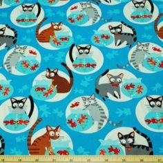 Cats Go Fishing 100% Patchwork Cotton Fabric   eBay