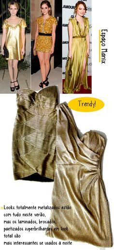 vestidos dourados do Espaço Manix