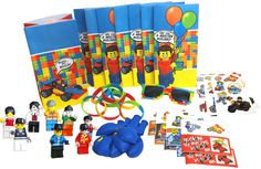 Party Favors for Lego Themed Birthday Party (8 Pack) - Bags, Wristbands, Stickers, Temporary Tattoos, Mini Figures, Balloons & one BONUS Pair of Sunglasses for the Birthday Child!