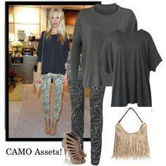 Hide or Enhance Your Assets with CAbi modern camo jegging, edge tee and bateau neck tee. www.deborahsolomon.cabionline.com