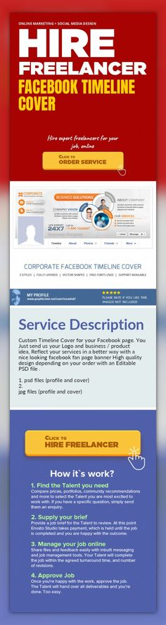 Facebook Timeline Cover Online Marketing, Social Media Design   Custom Timeline Cover for your Facebook page. You Just send us your Logo and business / product idea, Reflect your services in a better way with a nice looking facebook fan page banner High quality design depending on your order with an Editable PSD file .    1. psd files (profile and cover)  2. jpg files (profile and cover)