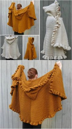 Crochet For Beginners Heavy Hooded Cape Poncho Au Crochet, Mode Crochet, Crochet Cape, Knit Or Crochet, Crochet Scarves, Crochet Crafts, Crochet Clothes, Crochet Stitches, Crochet Vests