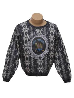 80s style -Maurices- Unisex medium grey background acrylic Mohair blend pullover longsleeve Ugly Christmas Style Hanukkah Sweater, rounded neckline with an all over white snowflake pattern. Decorated with a centered -Happy Hanukkah- patch with a silvery fringe trim. Design continues on back. Minor pilling. Made for a woman but would look okay on a guy - just scrunch up the sleeves if theyre a bit too short. Best on a shorter guy unless you dont mind showing a little belly!
