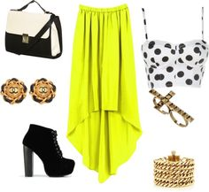"""""""Edgy in neon high low"""" by elise-shane on Polyvore"""