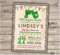 Green Tractor Baby Shower Printable Invitations Rustic by cardmint                                                                                                                                                      More