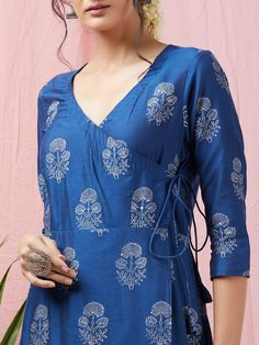 Navy Blue Hand Block Printed Cotton Silk Angrakha Kurta with Palazzo and Grey Cotton Mulmul Dupatta- Set of 3 Silk Kurti Designs, Printed Kurti Designs, Churidar Designs, Kurta Designs Women, Kurti Designs Party Wear, Cotton Kurtis Designs, Salwar Pattern, Kurta Patterns, Tunic Pattern