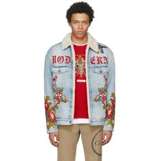 Gucci Blue Denim Shearling Embroidered Modern Future Jacket ($7,060) ❤ liked on Polyvore featuring men's fashion, men's clothing, men's outerwear, men's jackets, blue, mens blue jean jacket, mens shearling jacket, mens denim jacket, mens blue jacket and mens padded jacket