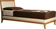 UMBERTO. Bed made of cherry wood with upholstered headboard and sides.