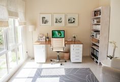 DIY Office Desk Made from IKEA Kitchen Components. With little imagination, this gorgeous office desk is made from IKEA Kitchen Components. Two cabinets, one with shelves, one with drawers, and a solid wood worktop from IKEA kitchen are all you need. See important notes about this genious DIY